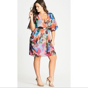 NEW City Chic Floral Watercolor Printed Dress